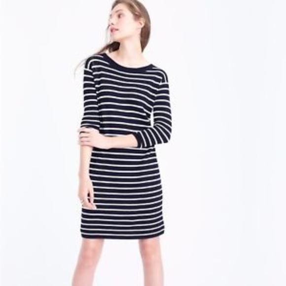 5d0c50db439 J. Crew Dresses   Skirts - J Crew Merino Wool Navy Striped Sweater Dress L